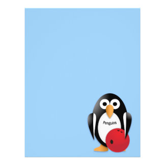Penguin with a bowling bowl flyer
