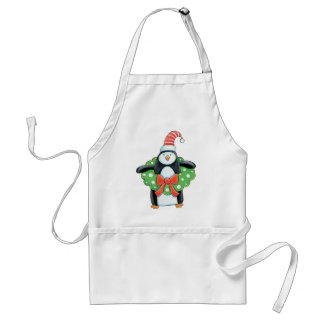 Penguin with a Christmas Wreath Apron
