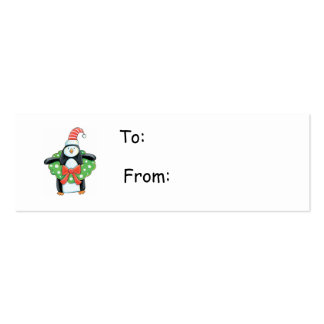 Penguin with a Christmas Wreath Gift Tag Business Cards