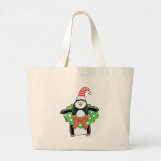 Penguin with a Christmas Wreath Jumbo Tote Bag