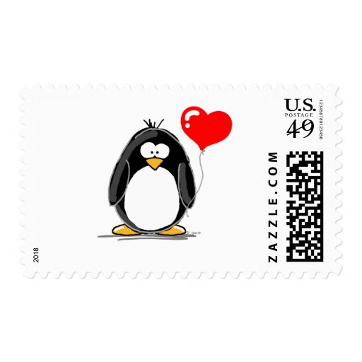 Penguin with a heart balloon stamp