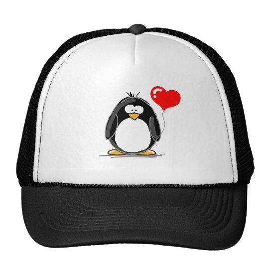 Penguin with a heart balloon trucker hat