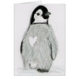 PENGUIN WITH A HEART!  GREETINGS ALL OCCASIONS CARD