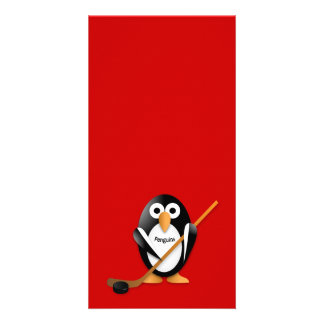 Penguin with a hockey stick card