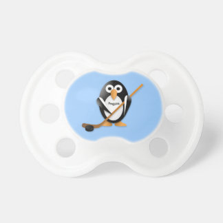 Penguin with a hockey stick pacifier
