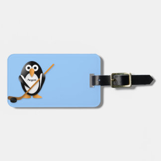 Penguin with a hockey stick travel bag tag