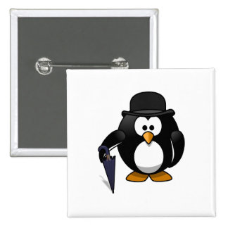 Penguin with an umbrella and hat buttons