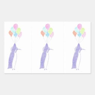 Penguin With Balloons Rectangular Sticker