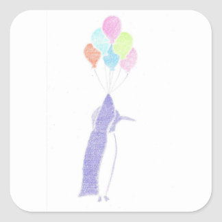 Penguin With Balloons Square Sticker