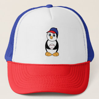 Penguin with Baseball Red, White and Blue Trucker Hat