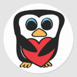 Penguin with Big Red Heart Sticker