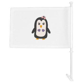 Penguin with bikini car flag