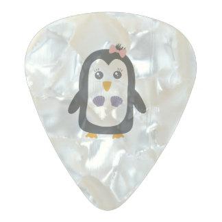 Penguin with bikini pearl celluloid guitar pick