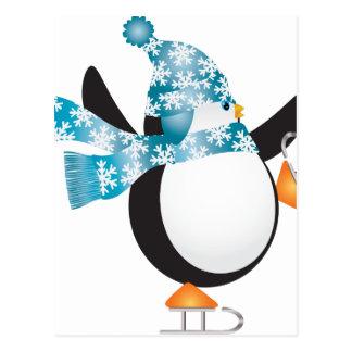 Penguin with Blue Hat Ice Skating Illustration Postcard