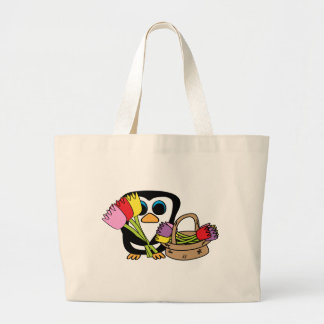 Penguin with Bouquet of Tulips Large Tote Bag