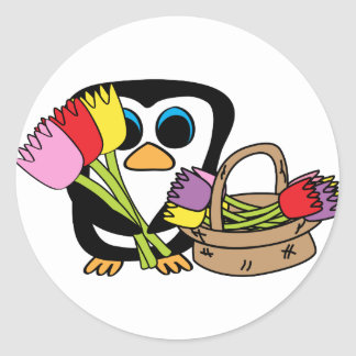 Penguin with Bouquet of Tulips Sticker