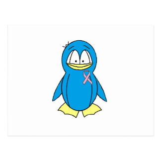 Penguin with Breast Cancer Awareness Pink Ribbon Postcard