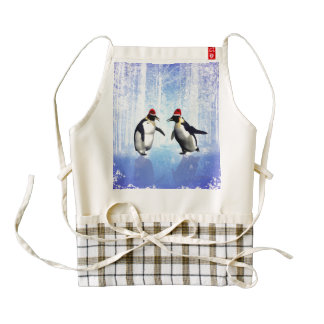 Penguin with christmas hat zazzle HEART apron