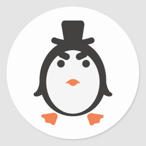 Penguin with cylinder sticker