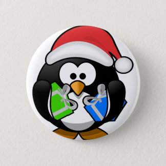 Penguin with Gifts Pinback Button