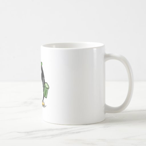 Penguin with Green Beer Classic White Coffee Mug