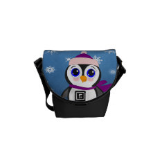 Penguin With  Hat Messenger Bag at Zazzle