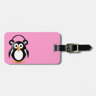 Penguin with headphones bag tag