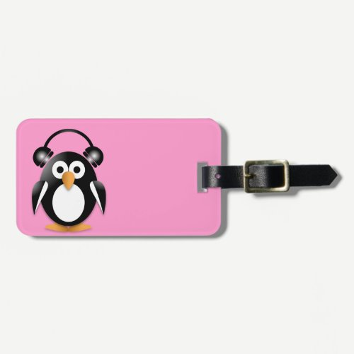 Penguin with headphones luggage tag