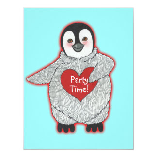 Penguin with Heart Birthday Party Invitation
