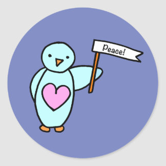 Penguin with Heart holding White Flag with Peace Classic Round Sticker