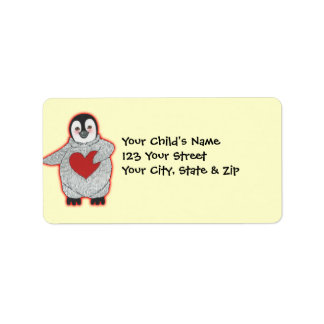 Penguin with Heart Personalized Address Labels