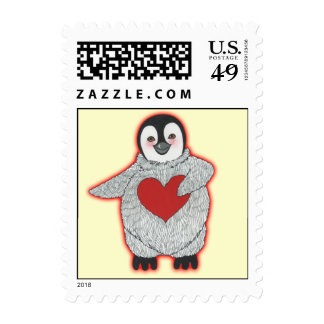 Penguin with Heart Stamps