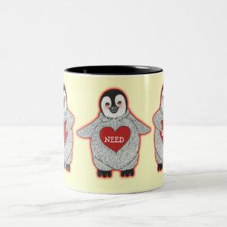 "Penguin with Hearts ""I Need Hugs"" Two-Tone Coffee Mug"