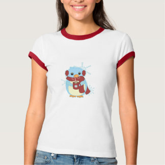 Penguin with hot cocoa t-shirt