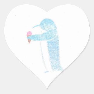 Penguin With Ice Cream Heart Sticker