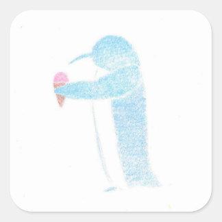 Penguin With Ice Cream Square Sticker