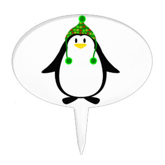 Penguin with Knit Hat Cake Topper