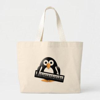 Penguin with piano jumbo tote bag