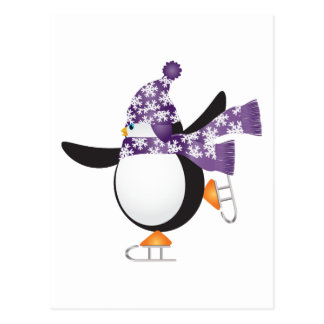Penguin with purple scarf ice Skating Postcard