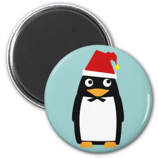 Penguin with Santa Hat 2 Inch Round Magnet