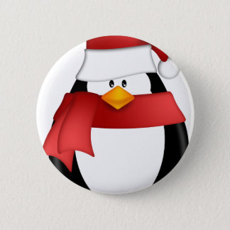 Penguin with Santa Hat and Red Scarf Clipart Pinback Button