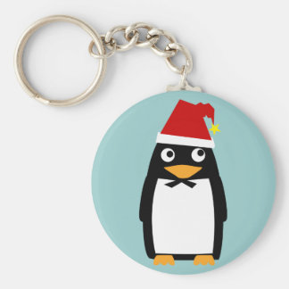 Penguin with Santa Hat Keychain