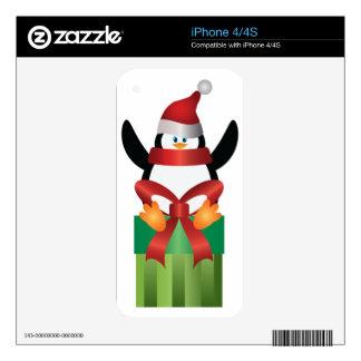 Penguin with Santa Hat on Present Illustration iPhone 4 Skin