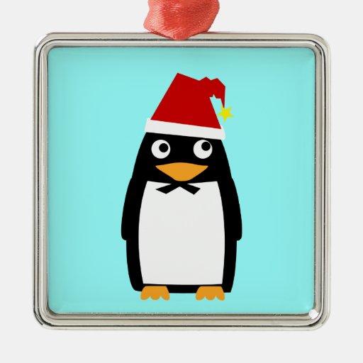 Penguin with Santa hat Square Metal Christmas Ornament