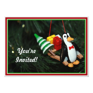 Penguin With Sled Ornament (3) 5x7 Paper Invitation Card