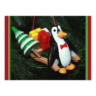 Penguin With Sled Ornament (3) 6.5x8.75 Paper Invitation Card