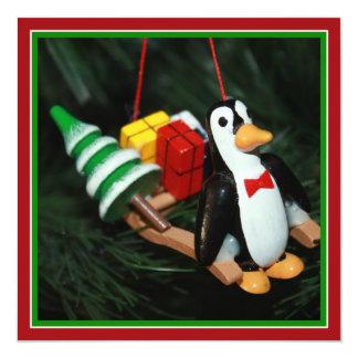 Penguin With Sled Ornament (3) Invitation