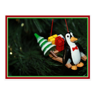Penguin With Sled Ornament (3) Postcard