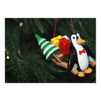 Penguin With Sled Ornament 5x7 Paper Invitation Card