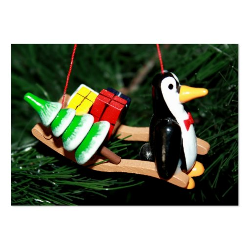 Penguin With Sled Ornament Business Card
